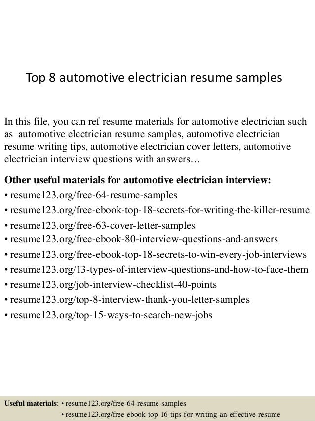 Sample Resume Auto Electrician frizzigame