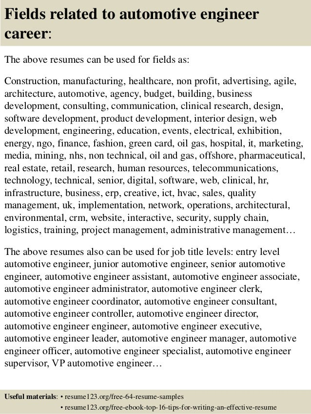 16 fields related to automotive engineer - Auto Performance Engineer Sample Resume