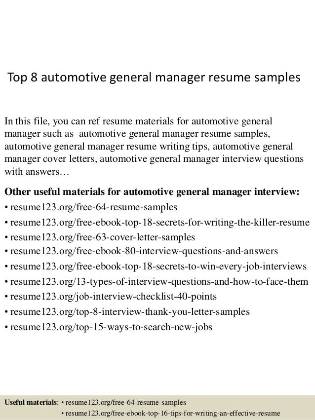 Top 8 Automotive General Manager Resume Samples In This File You Can Ref Materials