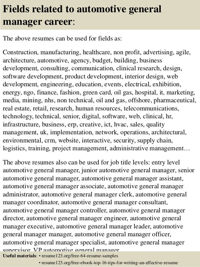 ... 16. Fields Related To Automotive General Manager ...