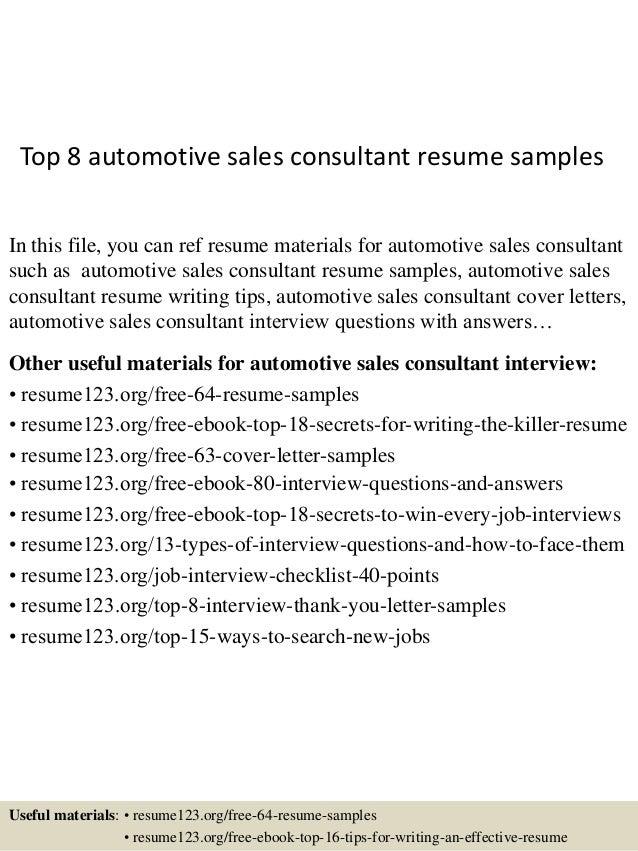 top 8 automotive sales consultant resume sles
