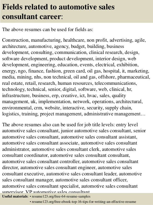 Top 8 automotive sales consultant resume samples