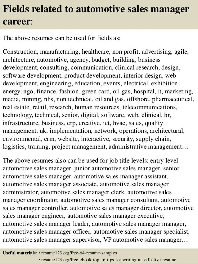 Top 8 automotive sales manager resume samples