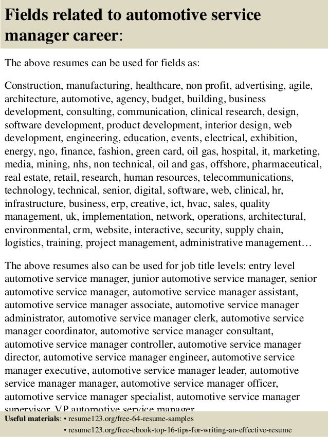 ... 16. Fields Related To Automotive Service Manager ...  Service Manager Resume
