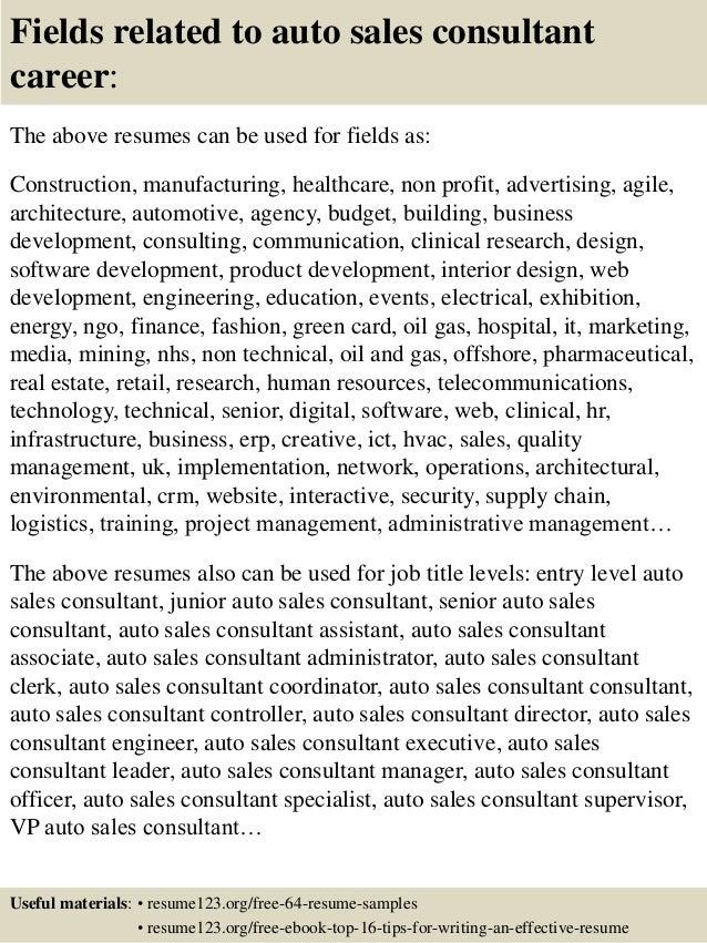 Top 8 auto sales consultant resume samples