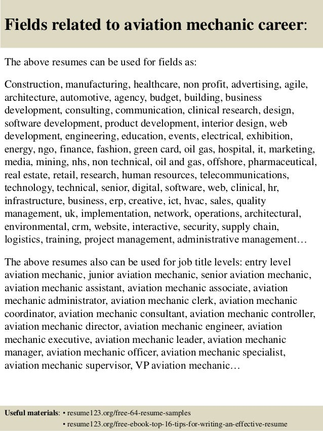 Aviation Mechanic Resume Diesel Mechanic Resume Samples Auto
