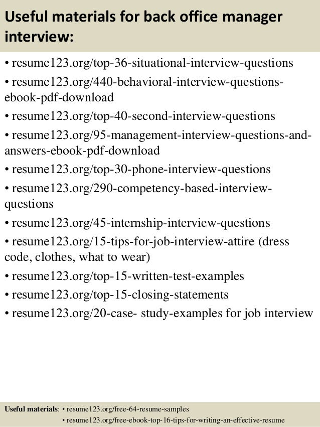 ... 12. Useful Materials For Back Office Manager ...  Office Manager Resume Examples