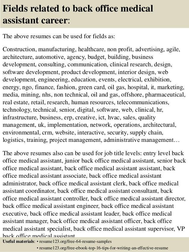 Medical Assistant Back Office Resume Sample. resume sample resume ...