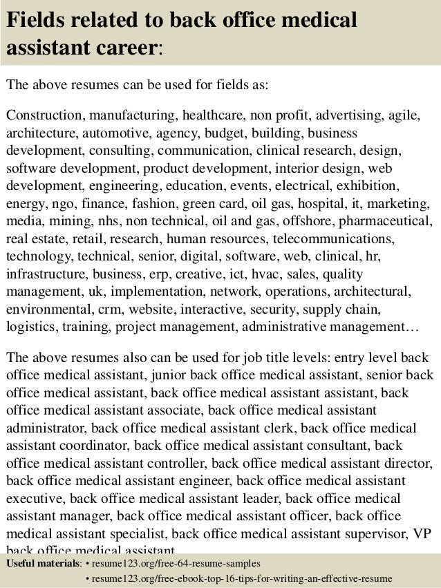 Medical Assistant Resume With No Experience healthcare medical resume medical receptionist resume responsibilities medical receptionist resume medical receptionist resume free Top Back Office Medical Assistant Resume Samples Slideshare Fields Related To Back Office Medical Assistant