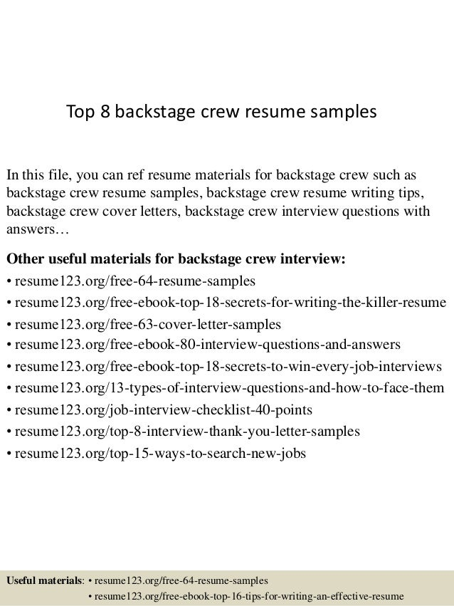 Top 8 backstage crew resume samples