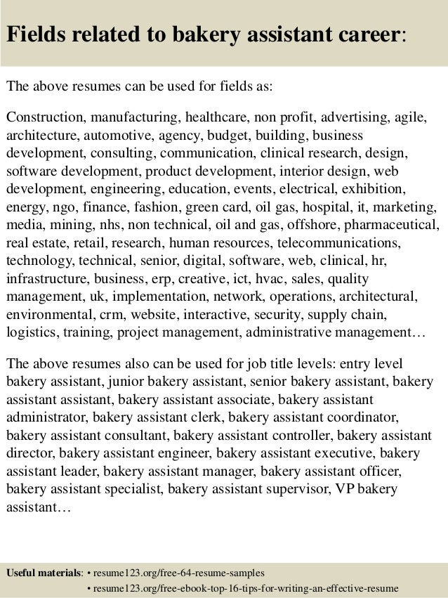 High Quality ... 16. Fields Related To Bakery Assistant Career: The Above Resumes ...