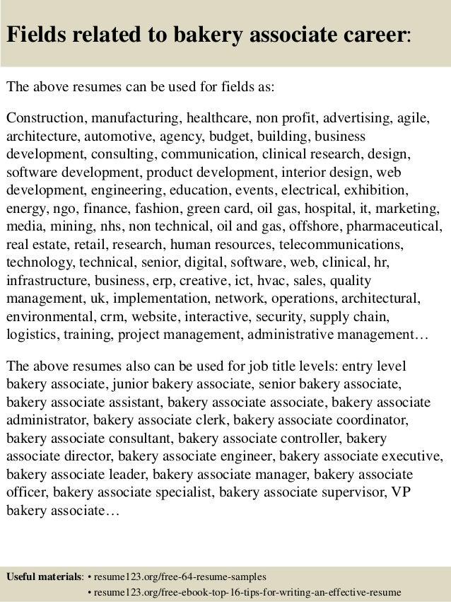 Top 8 bakery associate resume samples