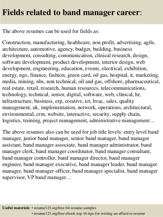 Top 8 band manager resume samples