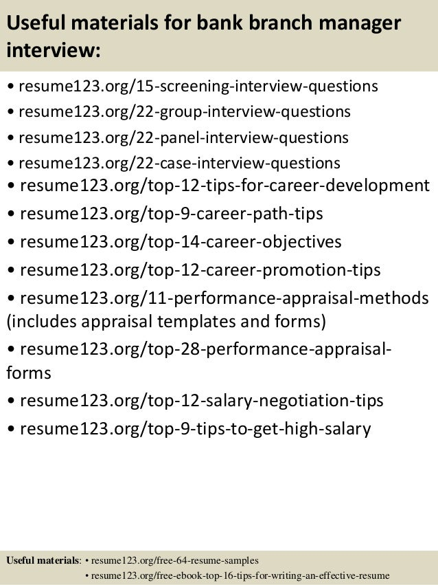 Top 8 Bank Branch Manager Resume Samples