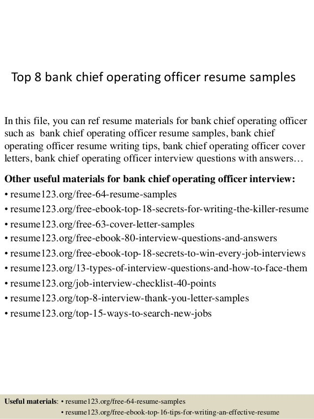 top 8 bank chief operating officer resume samples in this file you can ref resume