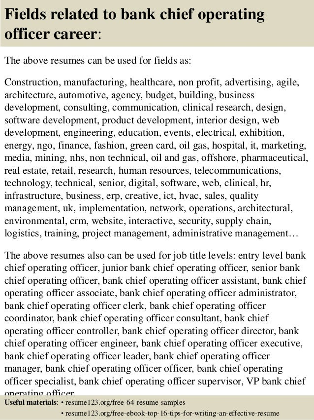 Top 8 bank chief operating officer resume samples - Chief operating officer coo average salary ...