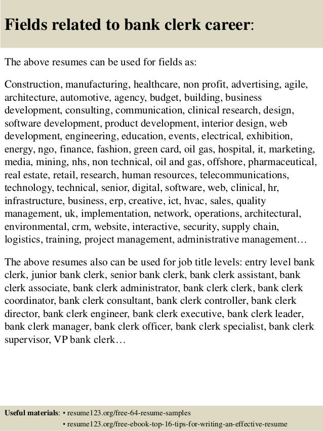 16 fields related to bank - Bank Resume Samples