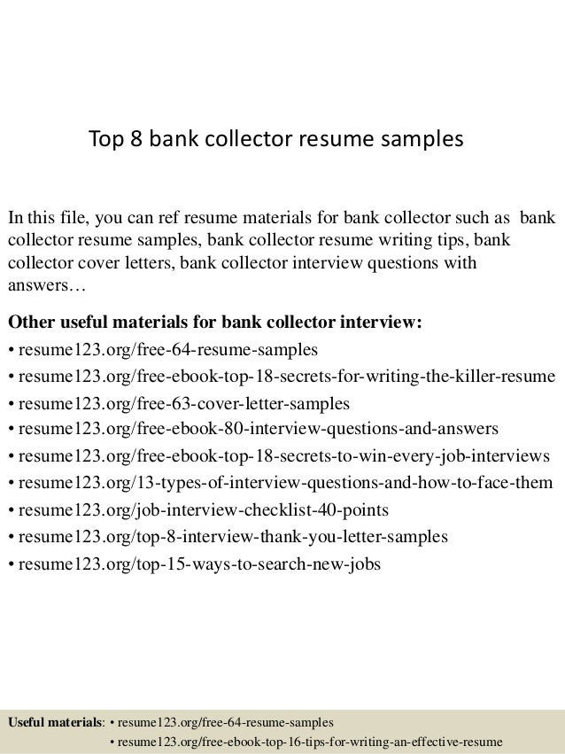 Bank Collector Sample Resume. Collection Agent Resume Agent Resume ...