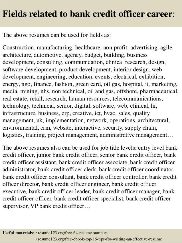 top 8 bank credit officer resume samples
