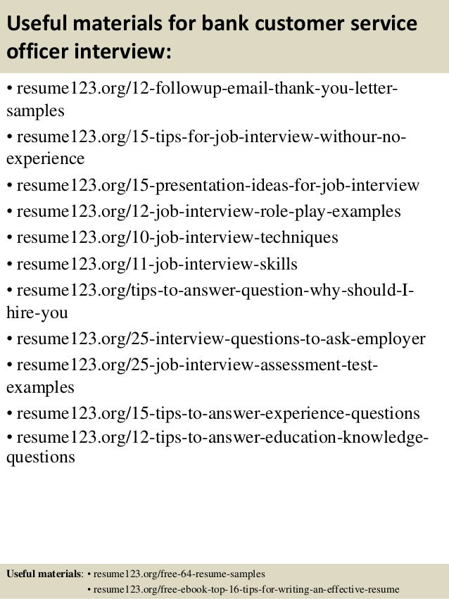 14 useful materials for bank customer service - Banking Customer Service Sample Resume