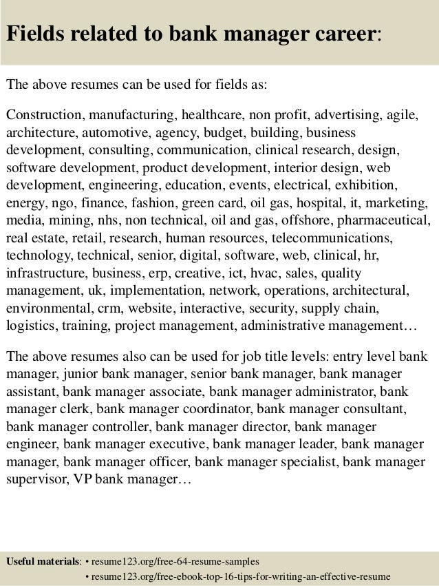 assistant bank manager resumes