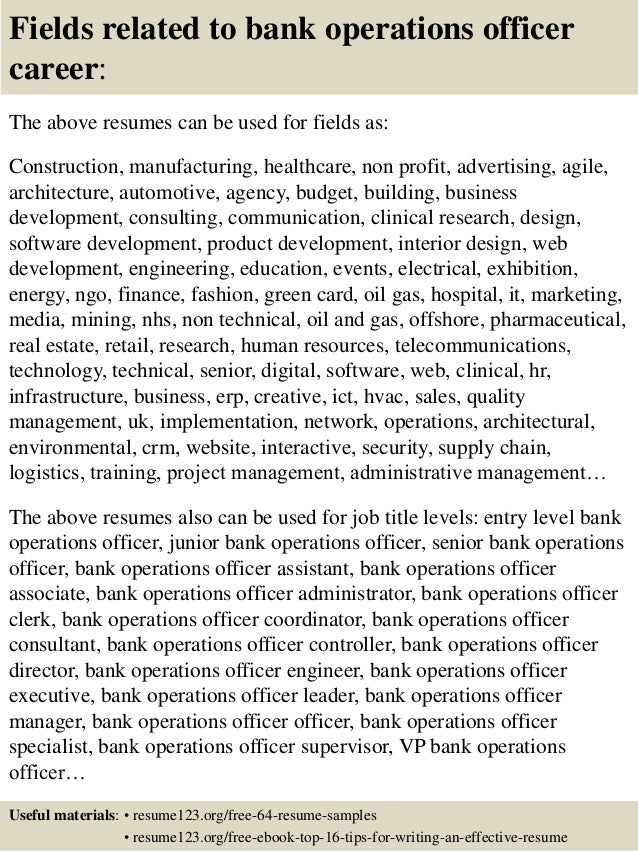 Top 8 Bank Operations Officer Resume Samples