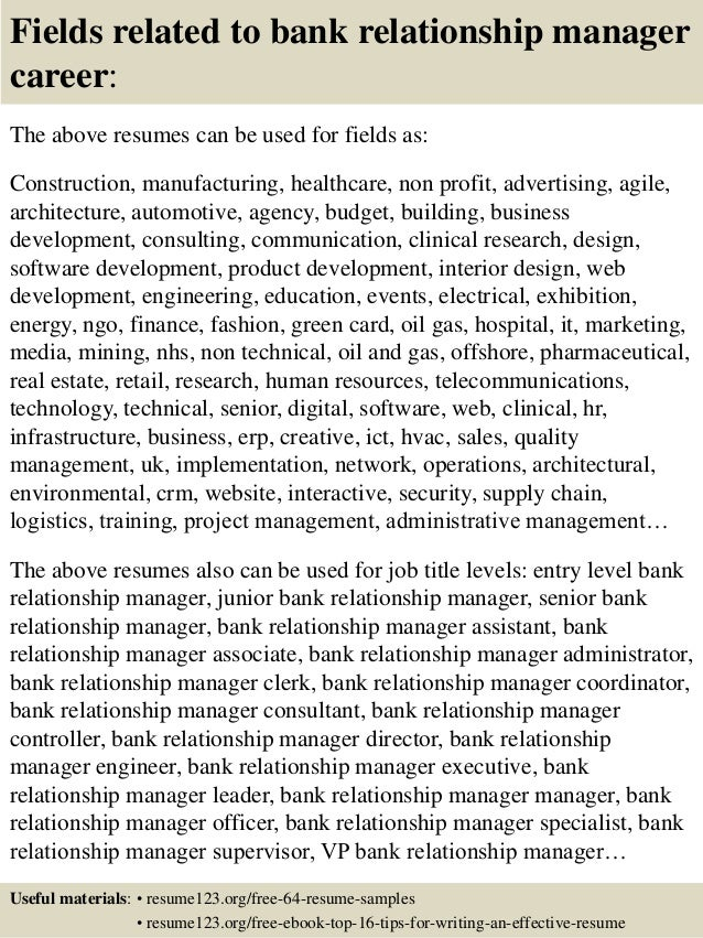 Top 8 bank relationship manager resume samples 16 fields related to bank relationship manager yelopaper Images