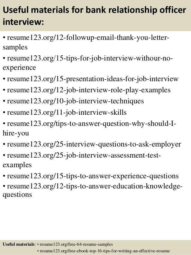 top 8 bank relationship officer resume samples