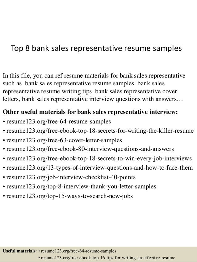 Top 8 Bank Sales Representative Resume Samples In This File You Can Ref Materials
