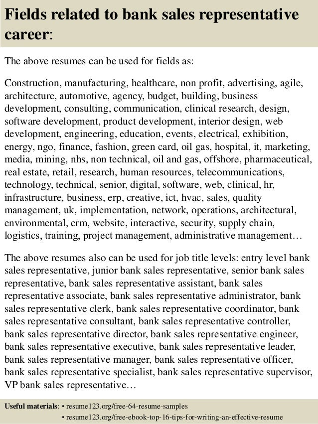 Top 8 bank sales representative resume samples 16 fields related to bank sales representative altavistaventures Choice Image