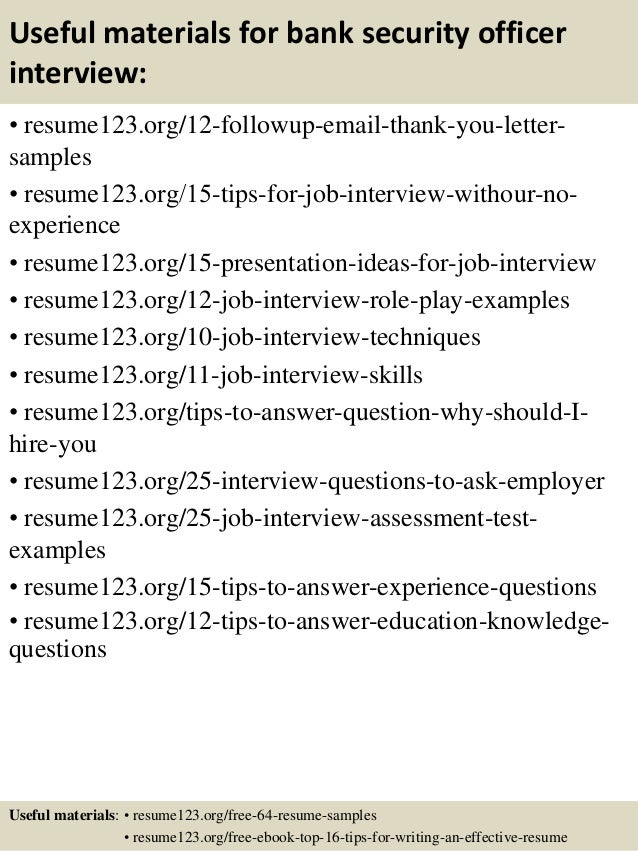 14 useful materials for bank security officer - Bank Security Officer Sample Resume