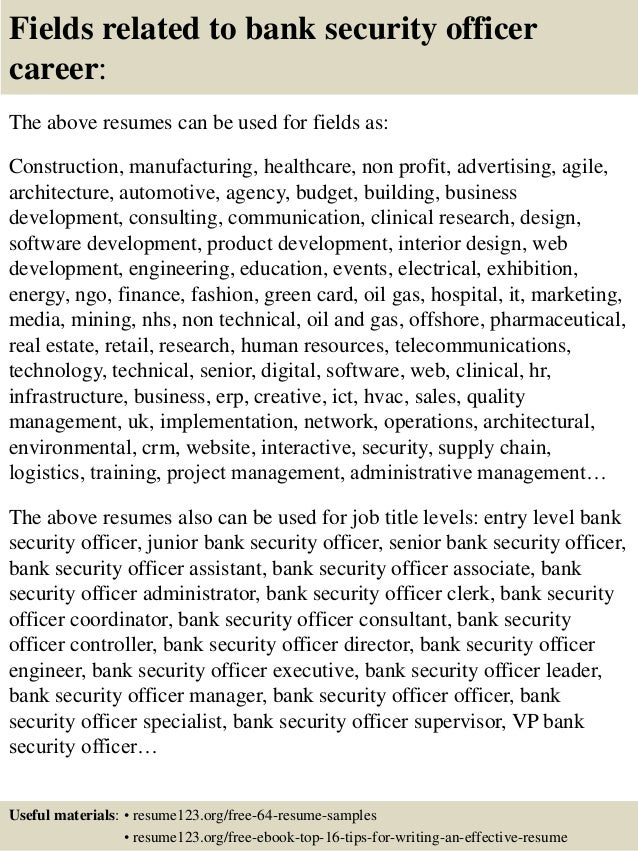 top 8 bank security officer resume samples