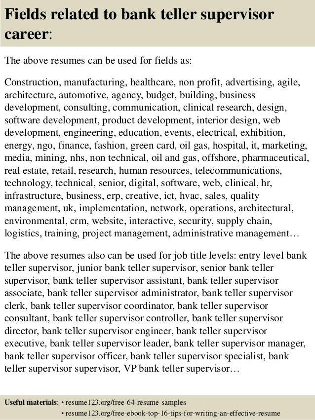 top 8 bank teller supervisor resume samples
