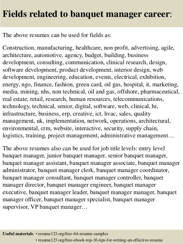 16 fields related to banquet manager - Sample Banquet Manager Resume