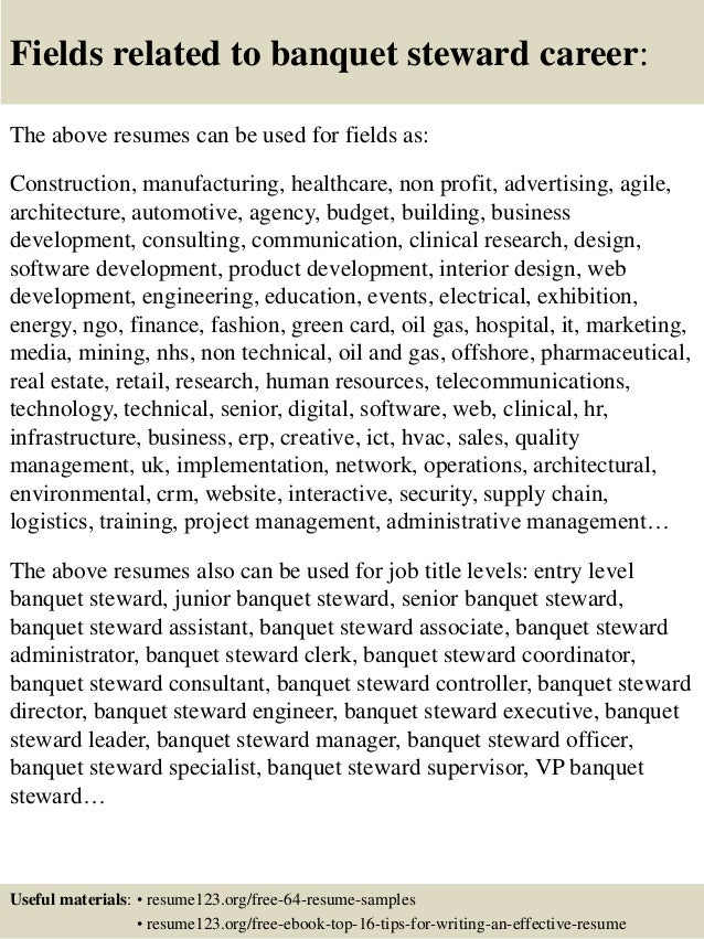 ... 16. Fields Related To Banquet Steward Career: The Above Resumes ...