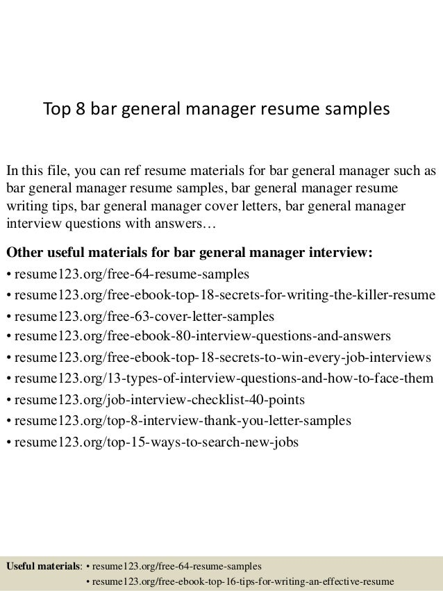 Top 8 Bar General Manager Resume Samples In This File, You Can Ref Resume  Materials ...