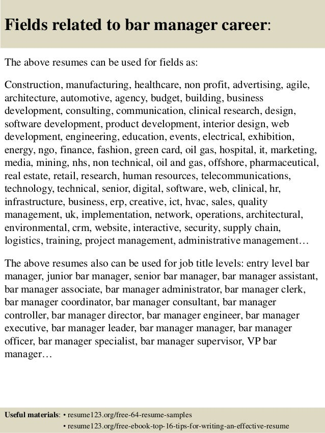 Top 8 bar manager resume samples