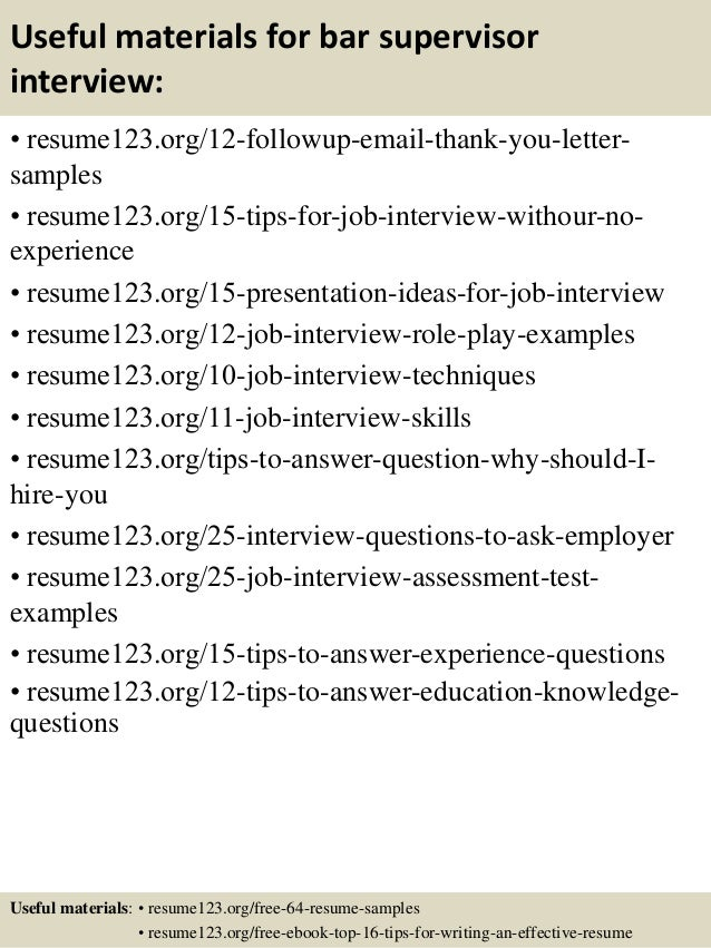 Top 8 Bar Supervisor Resume Samples