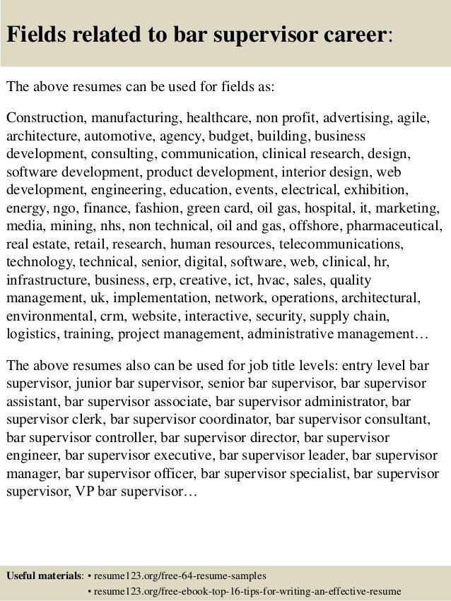 Top 8 Bar Supervisor Resume Samples