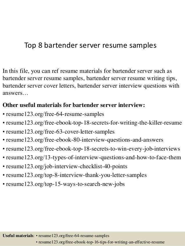 Top 8 Bartender Server Resume Samples In This File You Can Ref Materials For