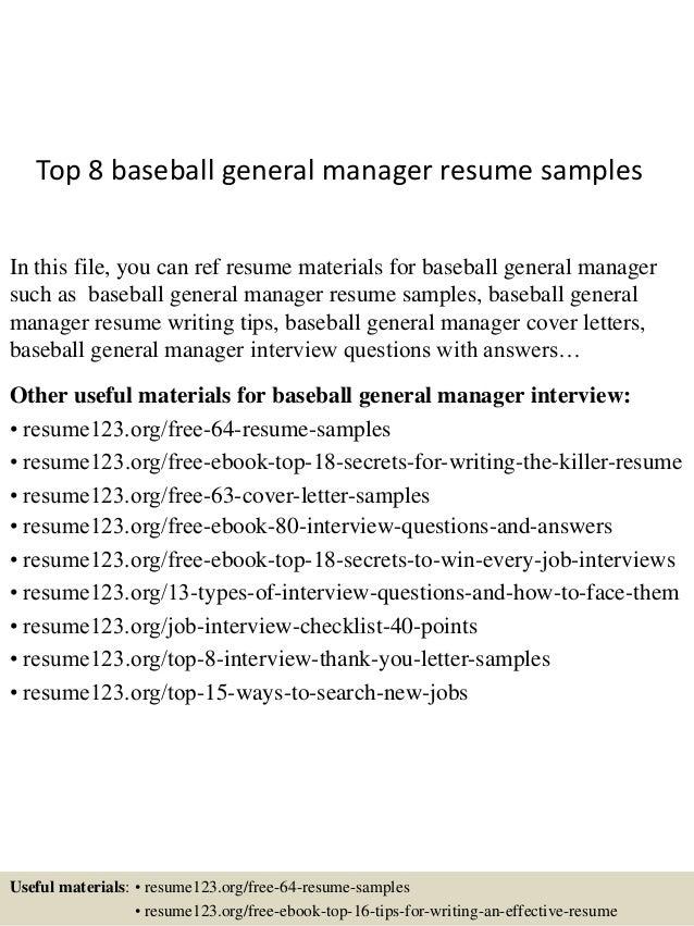 top 8 baseball general manager resume samples