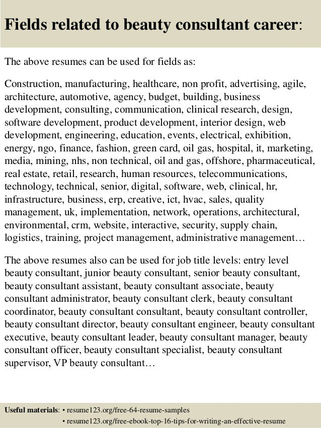 ... 16. Fields Related To Beauty Consultant ...