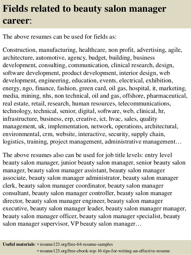Top 8 beauty salon manager resume samples