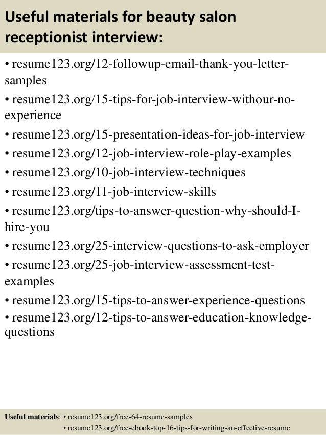 Top 8 beauty salon receptionist resume samples