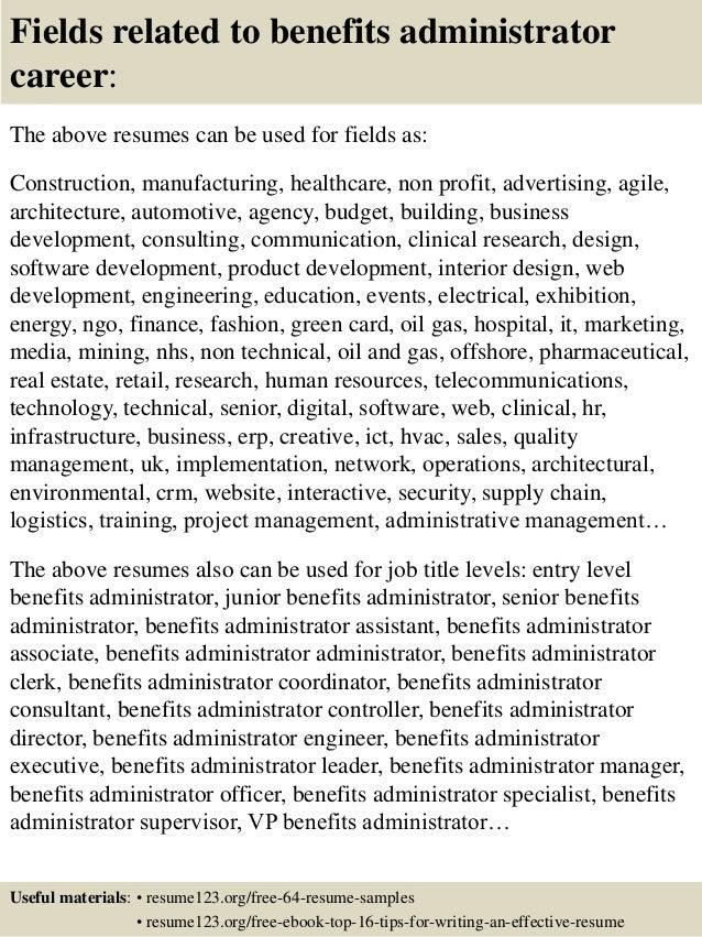Top 8 benefits administrator resume samples