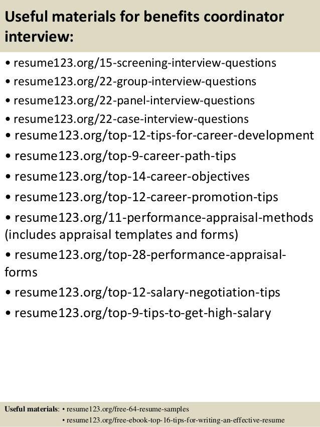 Top 8 benefits coordinator resume samples