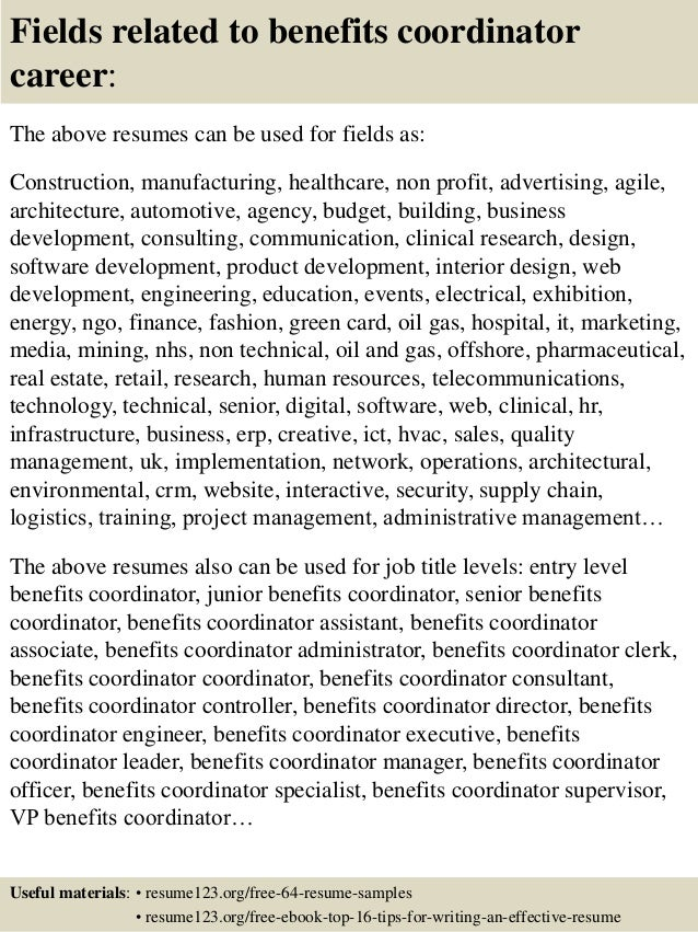 top 8 benefits coordinator resume sles