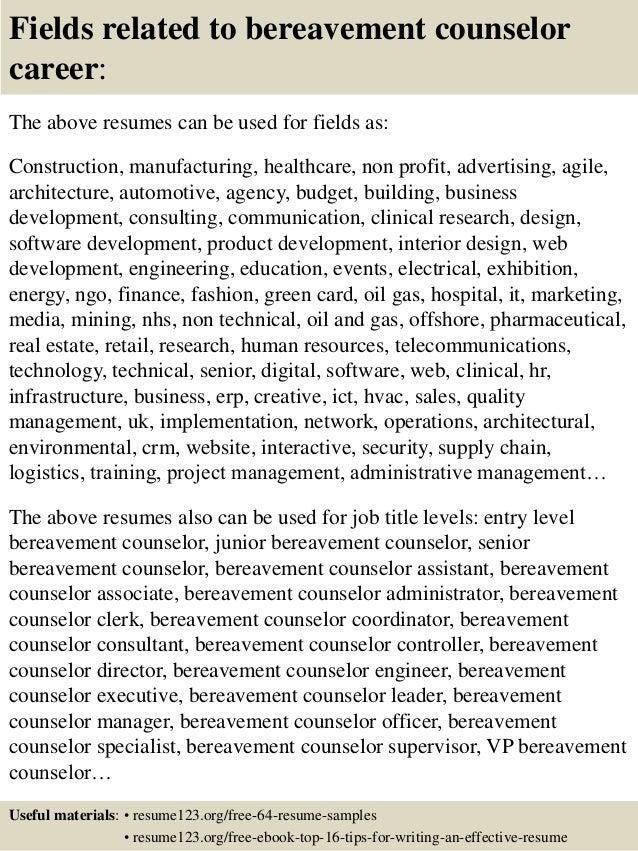Top 8 bereavement counselor resume samples