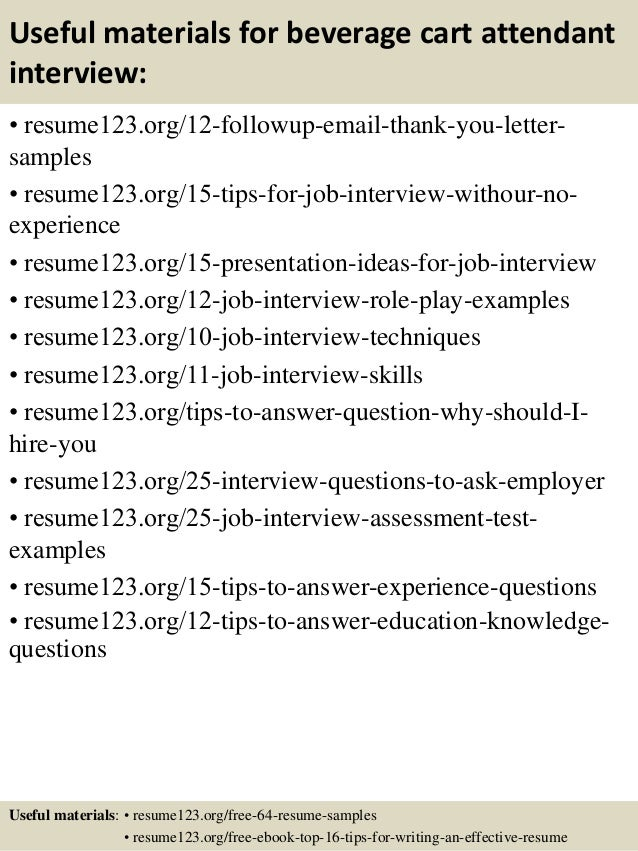 Top 8 beverage cart attendant resume samples