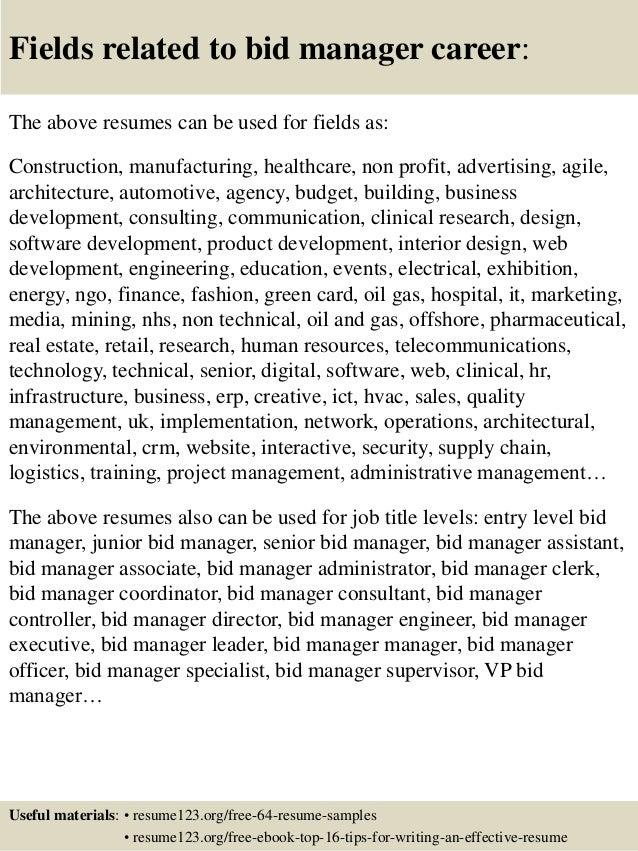 top 8 bid manager resume sles